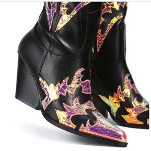 Mermaid & Black Western Cowboy Knee High Boots